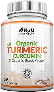 Cúrcuma Curcumina Orgánica y Pimienta Negra Orgánica. 365 Cápsulas (Suministro Para 1 Año) | Máxima Potencia 600 mg - Fabricada en el Reino Unido por Nu U Nutrition