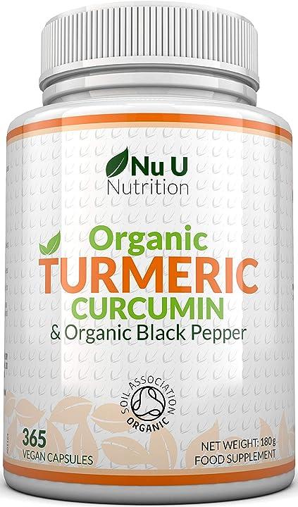 Integratore curcuma curcumina biologica 600mg, 365 capsule con pepe nero biologico nu u nutrition NuuTum001