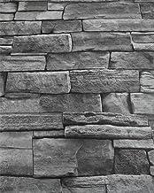 Gray 3D Stone Wallpaper Roll Peel and Stick Backsplash Wallpaper Brick Slef Adhesive Removable Wallpaper Kitchen Backsplas...