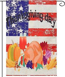 Apipi 12 × 18 بوصة عيد الشكر حصاد حديقة العلم - القرع الديك الرومي الفاكهة الخريف عمودي مزدوج الجانب ريفي الخيش الخريف الد...