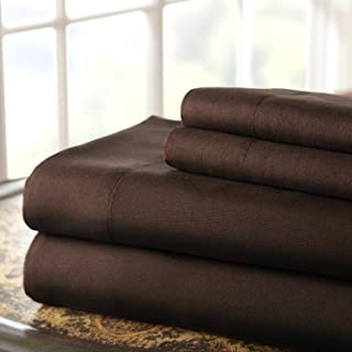 Amrapur Overseas | Hotel Collection | Luxuriously Soft 4-Piece Microfiber Bed Sheet Set (Chocolate, King)