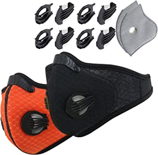 Novemkada Dustproof Masks - 2 Pack Activated Carbon Dust Mask with Extra Filter Cotton Sheet and Valves for Exhaust Gas, Pollen Allergy, PM2.5, Running, Cycling, Outdoor Activities
