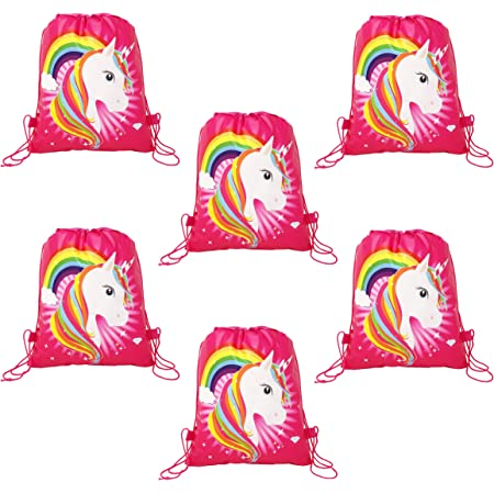 Parteet Unicorn Printed Haversack Bags - for Birthday Party Return Gifts for Kids,Fabric(Pack of 6,Multi color)