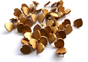 50 Gold Wooden Heart Thumb Tacks Push Pins 3/4 inch