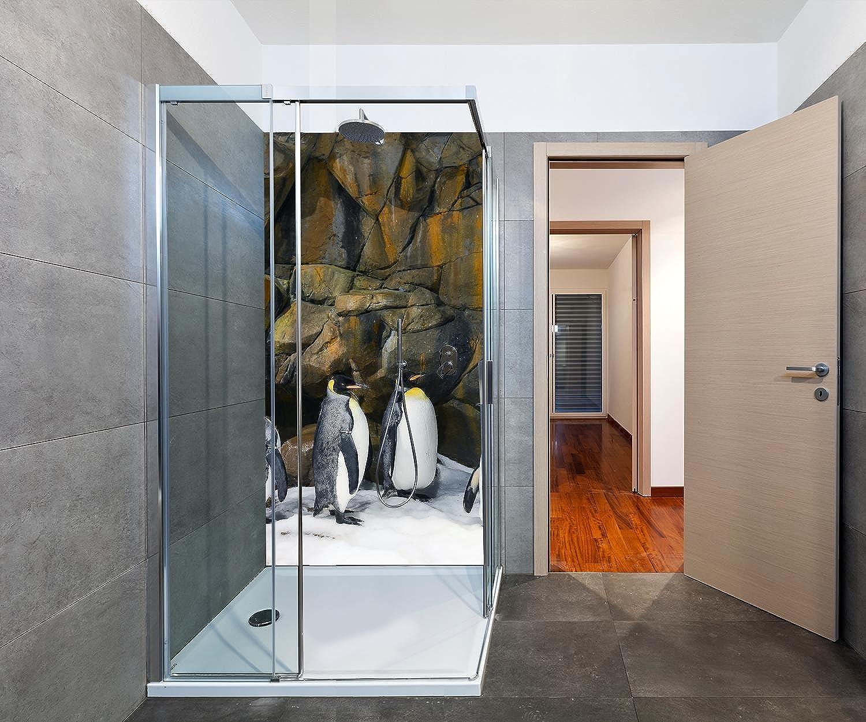 Wandmotiv24 Duschrückwand Kaiserpinguine 100 x 200cm (B x H) - Aluminium 3mm Duschwand Design, Keine Fugen M1031