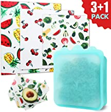 Beeswax Wrap and Silicone Reusable Food Bag. Plastic Free Starter Pack for Sustainable Products Lifestyle. Zero Waste Products to Keep Food Fresh 3 Premium bees wraps (S,M,L) included with Food bag.