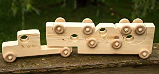 Wooden Toy Truck with Toy Cars - Personalized Toy - Semi Trailer Push Toy for Children and Toddlers