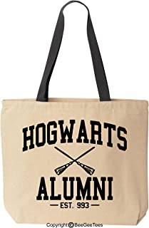 BeeGeeTees Wizard School Alumni Funny Wizard Reusable Canvas Tote Bag (Black Handle)