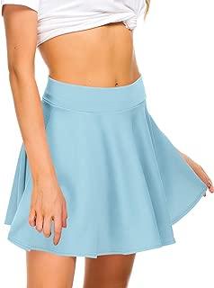 Women Stretch Waist Flared Mini Skater Skirt Casual Pleated Skirts