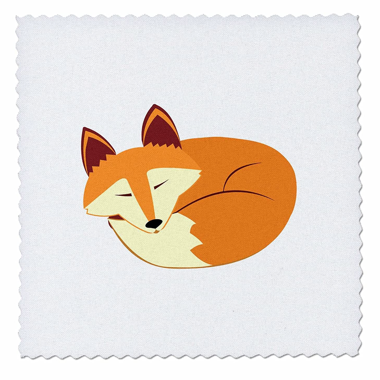 3dRose Cute Sleeping Red Fox - Quilt Square, 6 by 6-Inch (qs_175374_2)