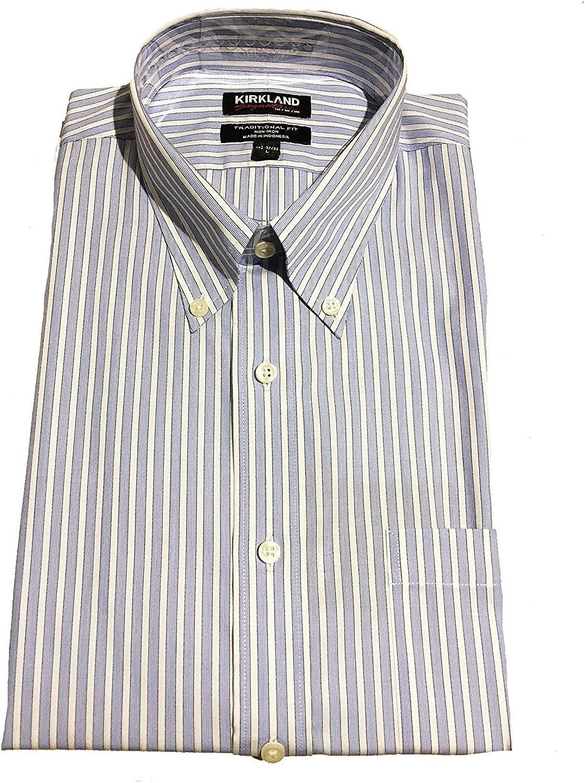 Kirkland Signature Men's Traditional Fit Non-Iron Button Down Collar Dress Shirt (L 16.5 x 32/33)