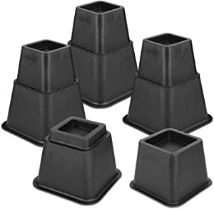 KOCASO Bed Risers, Furniture Risers Adjustable Stackable, 3, 5, 8Inch Heavy Duty Risers for Sofa Bed Table Chair Leg Extension Risers Support Up to 1300lbs, 8 Pack