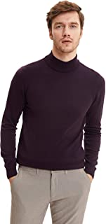 DeFacto Heren kleding en mannen shirts mannen slanke pasvorm mock-hals lange mouwen tricot sweater