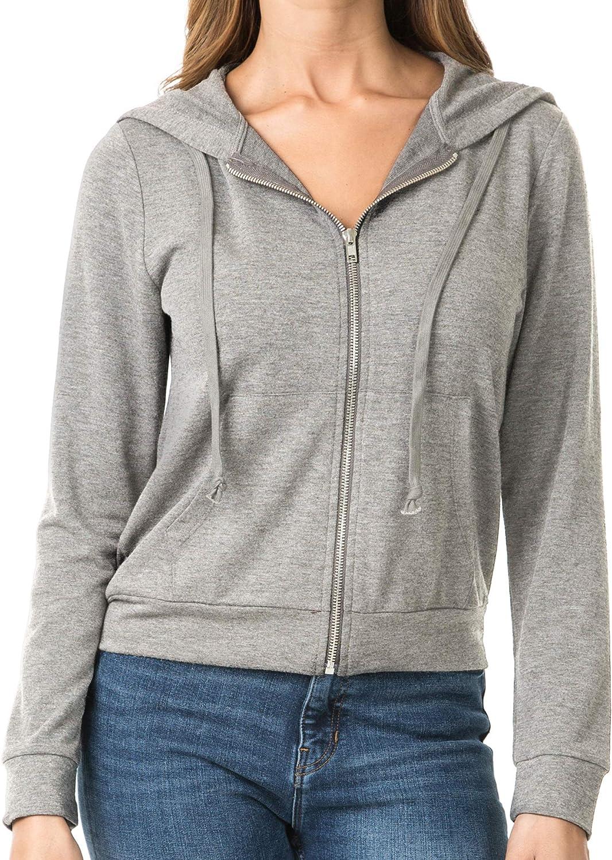 iliad USA Women's Soft Solid Full Zip-up Sweatshirts Hoodie Jack