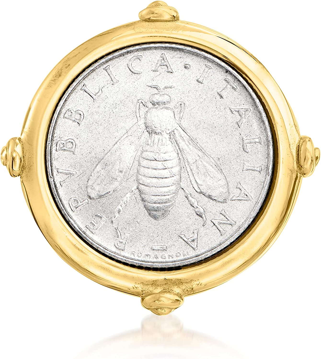 Ross-Simons shopping Italian 18kt Gold Over Ring Sterling Coin 2-Lira Max 48% OFF Bee