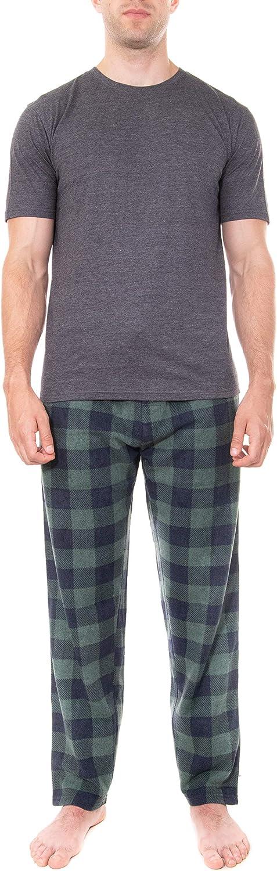 Swiss Alps Mens T-Shirt and Buffalo Plaid Check Fleece Lounge Pants Pajama Gift Set