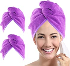 YoulerTex Microfiber Hair Towel Wrap for Women, 2 Pack 10 inch X 26 inch, Super Absorbent Quick Dry Hair Turban For Drying Curly, Long & Thick Hair (Purple)