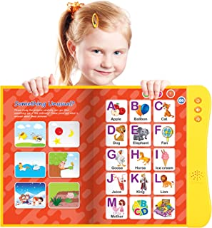 Funshpiel Electronic ABC Book for Kids Learning to Talk - 8 Page Interactive Talking Book with ABC Buttons, Animal Sounds,...