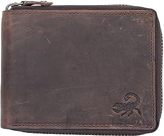 Cerniera portafoglio realizzato in vera pelle naturale resistente con scorpione