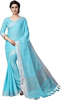 Perfectblue Women's Linen Saree With Blouse Piece (LinenLinenPlain)