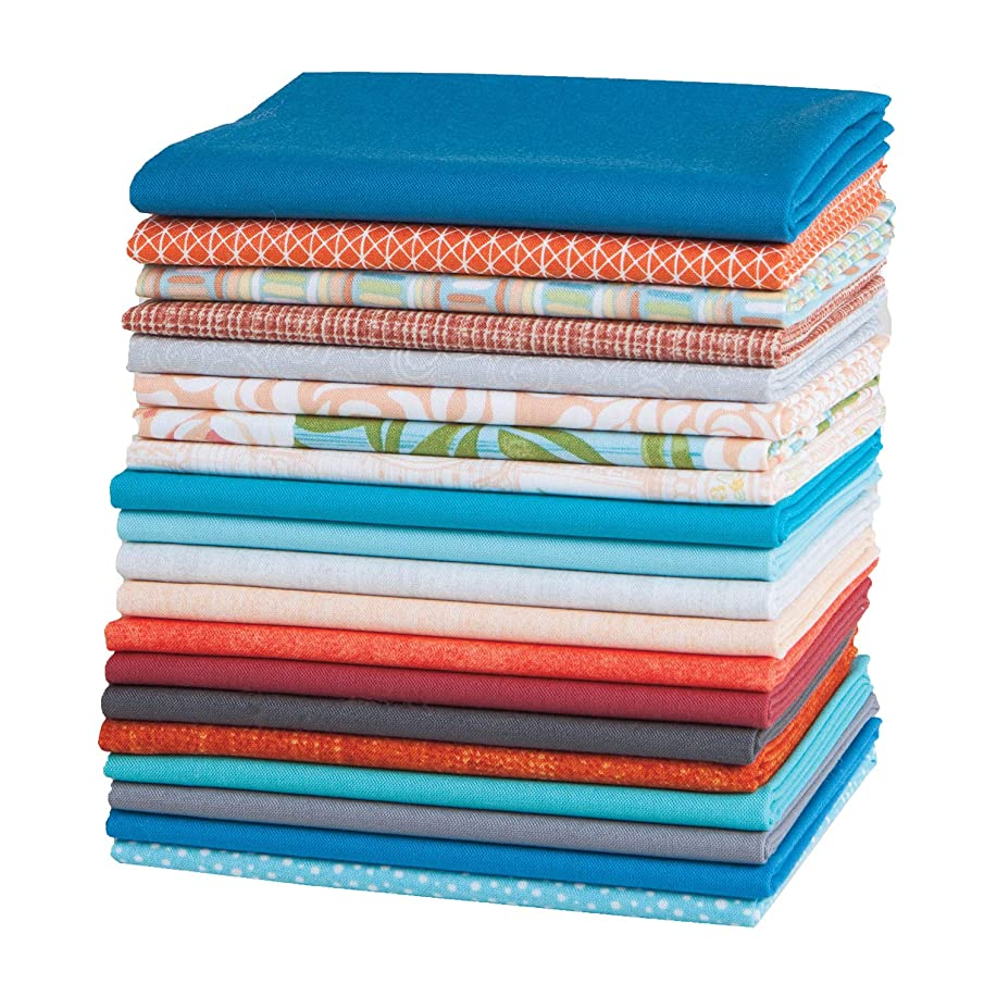Connecting Threads Stashbuilder Precut Quilting Fabric Fat Quarter Bundle (Blue & Orange)