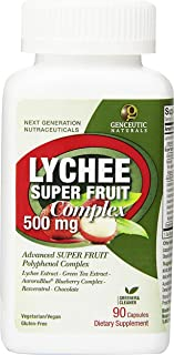 Genceutic Naturals Lychee Super Fruit Complex Herbal Supplements, 500 mg, 90 Count