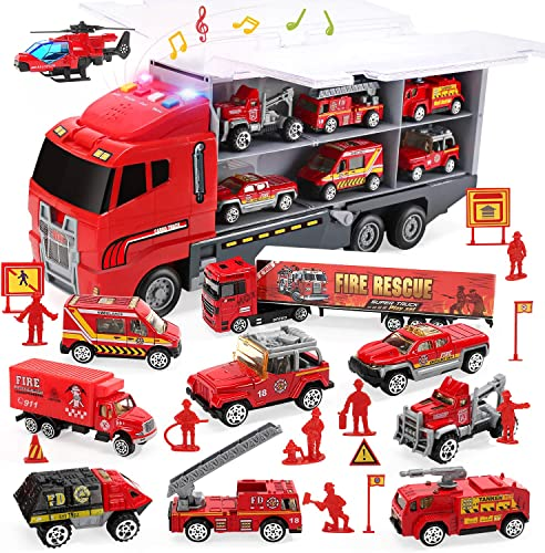 new arrival CUTE STONE 28 in 1 Fire Trucks with Sound and Light, Friction online Powered Cars with discount 10 Mini Firetrucks, Rescue Emergency Double Side Carrier Truck Set Birthday Gift for Boys Toddlers Kids Age 3+ online sale
