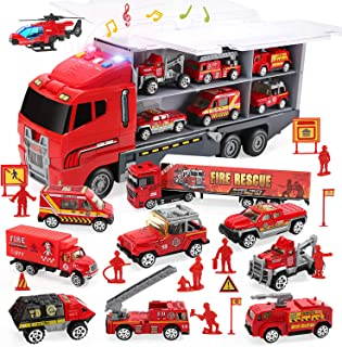 CUTE STONE 28 in 1 Fire Trucks Push and Go Car Carrier Truck Toy, Play Vehicles with Sounds and Lights, 10 Mini Diecast Tr...