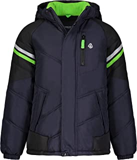 London Fog Boys' Little Active Puffer Jacket Winter Coat, Navy and Solid Black, 5/6