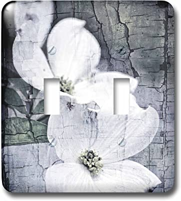 3drose Llc Lsp 57276 2 Crackled White Dogwood Flowers Vintage Inspired Floral Double Toggle Switch Switch Plates