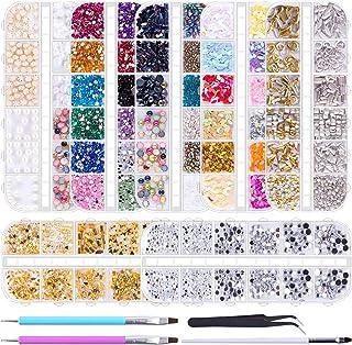 Duufin 10014 Pcs Nail Art Rhinestones Nail Crystal Gems Nail Jewels Nail Diamonds with 1 Pc Pick Up Tweezers 1 Pc Brush Pen and 2 Pcs Wax Pens for Nail Art Supplies