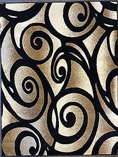 Bellagio Modern Contemporary 256,000 Point Area Rug Black Swirl Design 341 (5 Feet 2 Inch X 7 Feet 3 Inch)