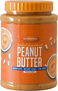 Nutra India Natural Unsweetened Peanut Butter - 30 gram protein in 100 gram serving Gluten Free