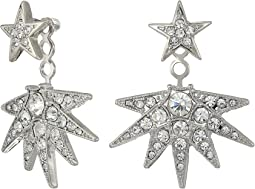 Silver/Crystal Star Post Ear Jacket Earrings
