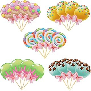 20 PCS Lollipop Cupcake Toppers Candyland Rainbow Candy Donut Theme Baby Shower Birthday Party Supplies Decoration