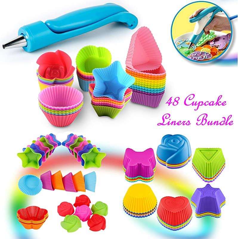 Cupcake Baking Cup Molds Bundle Easy Clean Pastry Liners 48 Nonstick Reusable Silicone Muffin Molds With Icing Pen Cupcake Cake Decorating Pen Set