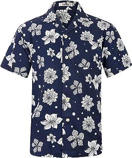 ELETOP Herren Hawaiihemd Kurzarm Blumen beiläufige Hemden Aloha Hemd für Strand Party Feiertag