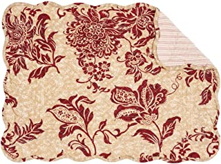 C&F Home Marissa Red Cream Toile Place Mats Rectangular Cotton Quilted Reversible Washable Placemat Set of 6 Rectangular Placemat Set of 6 Marissa