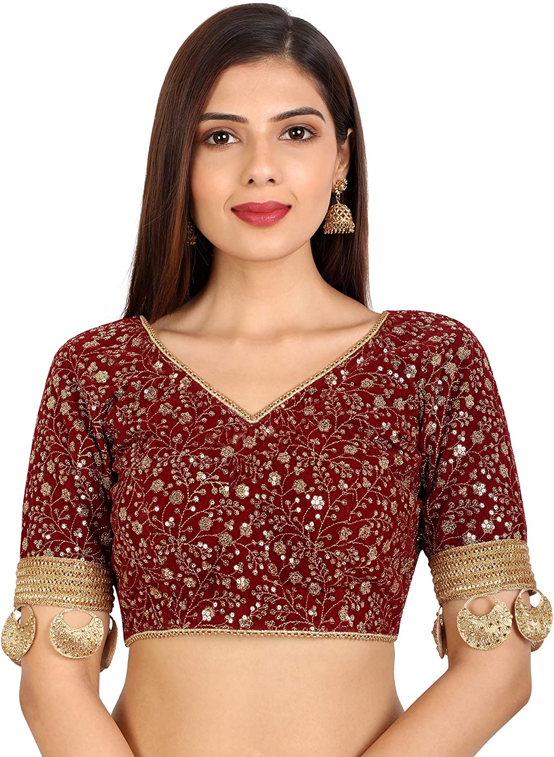 Libra Fashion Bollywood Style Indian Maroon B Sleeve Special sale New Orleans Mall item Saree Elbow