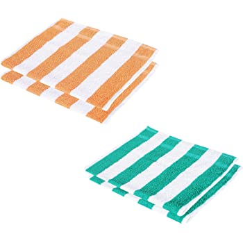 Cotton Colors Cotton 300 GSM Striped Hand Towel Set (Orange, Green, White) - Pack of 4