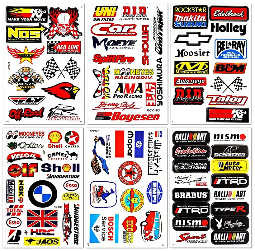 Auto Car Race Hot Rod Racer Performance Equipment Tool Automotive Motorsport Skateboard Bike Parts Accessories Helmet Racing Pack 6 for Kids Adults Teens Graffiti Vinyl Decals Stickers D6728 Best4Buy