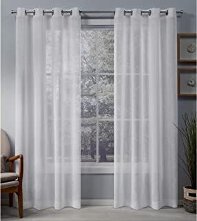 Exclusive Home Curtains Belgian Sheer Grommet Top Panel Pair, White, 50x108, 2 Piece