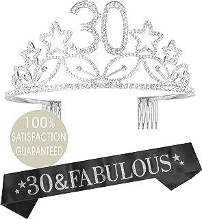 30th Birthday Tiara and Sash| Happy 30th Birthday Party Supplies| 30 & Fabulous Black Glitter Satin Sash and Crystal Tiara Birthday Crown for 30th Birthday Party (Silver)