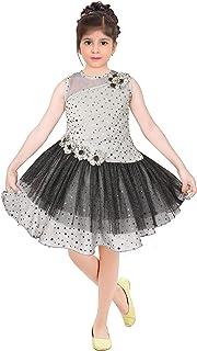 FloraStudio Girl's Frill Frock/Dress Nylon Glitter Fabric Party Dress for Girls