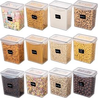 Yangbaga Lot de 12 1500ml Boite de Rangement Cuisine avec Couvercle et Cuillère, Boîte de Rangement Scellée, Utilisée pour...