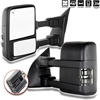 SCITOO Tow Mirrors fit 1999-2016 Ford F250 F350 F450 F550 Super Duty Pickup Manual LED Smoke Signals Lamps View Mirror Pair 050901-5206-1144472