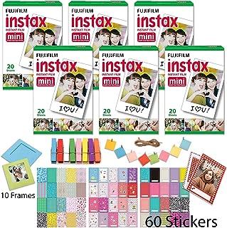 Fuji Mini Instant Film 12 x 10 Packs 120 Prints with 100 Frame Stickers