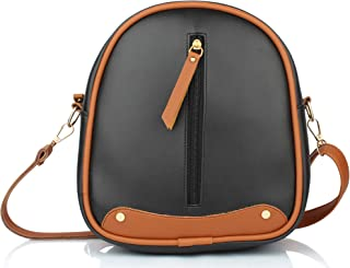 Mammon Girls PU Leather Backpack sling for Women (Bp-Fzip-Blk)