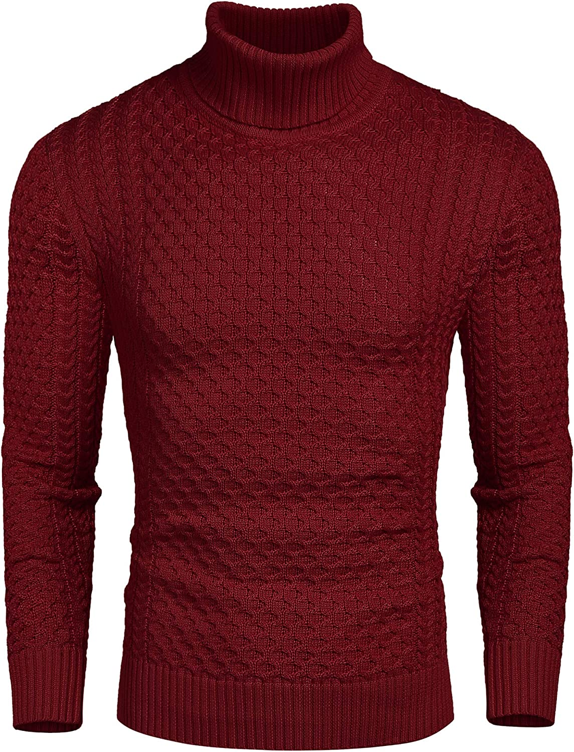 COOFANDY Men's Slim Fit Turtleneck Sweater Casual Knitted Twisted Pullover Solid Sweaters