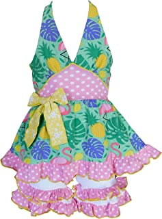 AnnLoren Girls Pink & Green Tropical Flamingo Halter Top & Capri Outfit